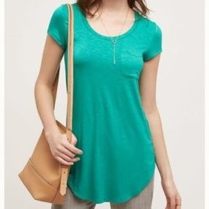 Anthro 《Pure & Good》Softened Green Pocket Tee